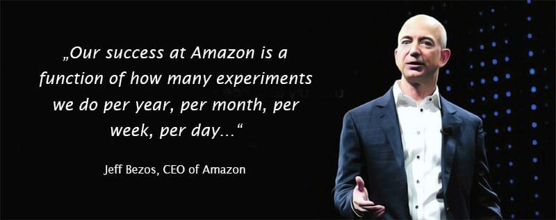 Jeff Bezos von Amazon Zitat zu Experiment Velocity