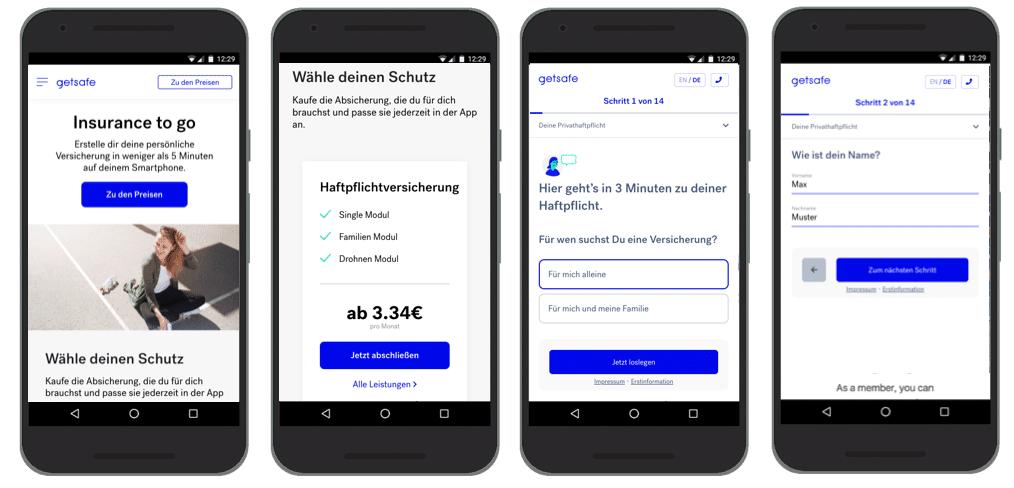 UX Best Practices Mobile: Klassenbester: Konversionsprozess - Getsafe