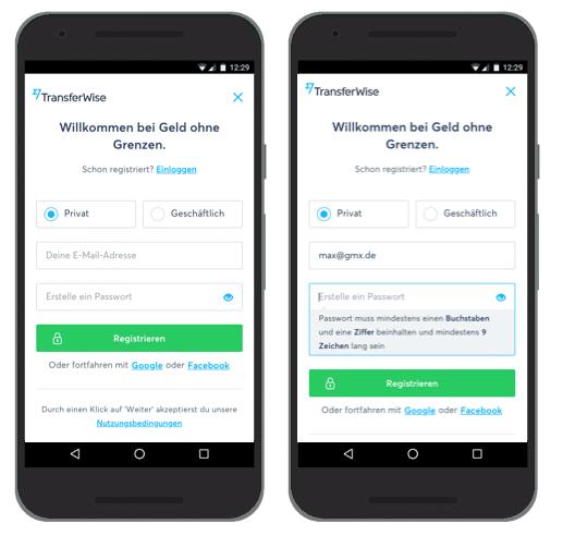 UX Best Practices Mobile: Klassenbester: Registrierung - Transferwise