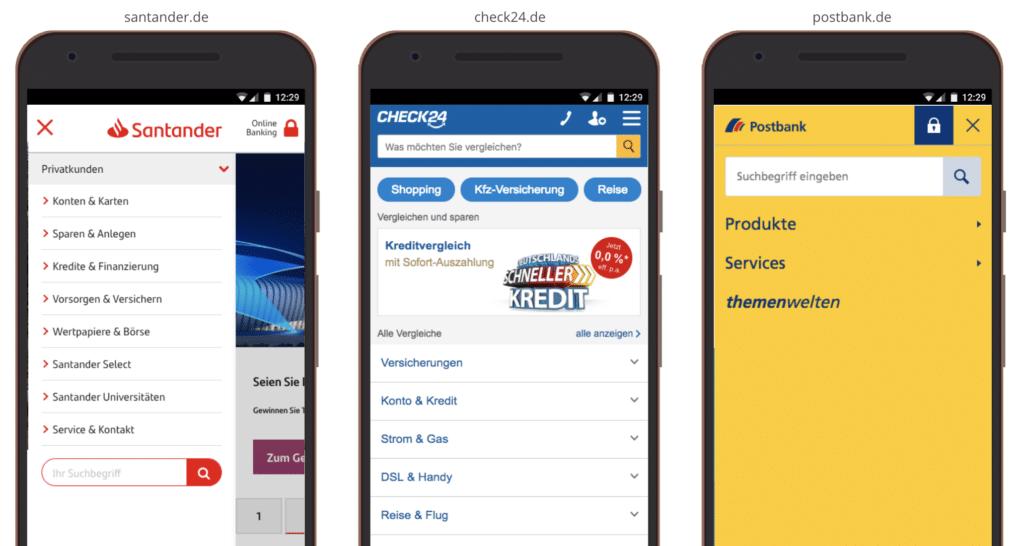 UX Mobile Interne Suche in Menü
