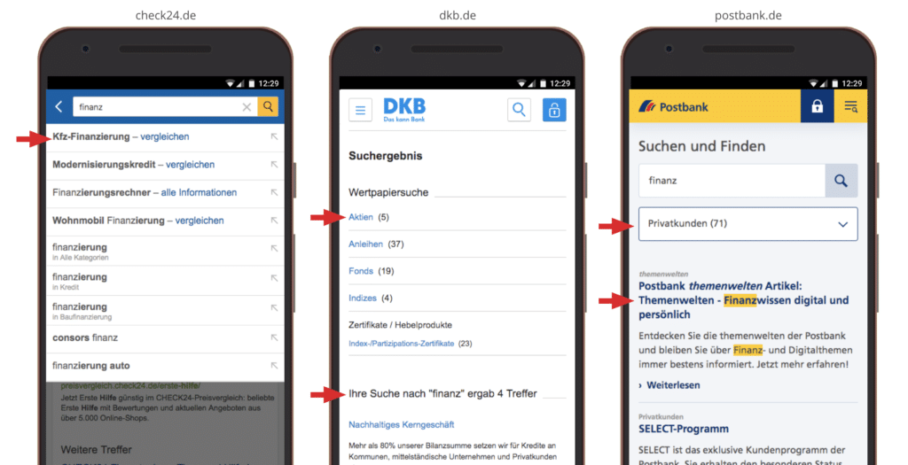 UX Mobile Best Practices: Suche, Autocomplete, Filterfunktion