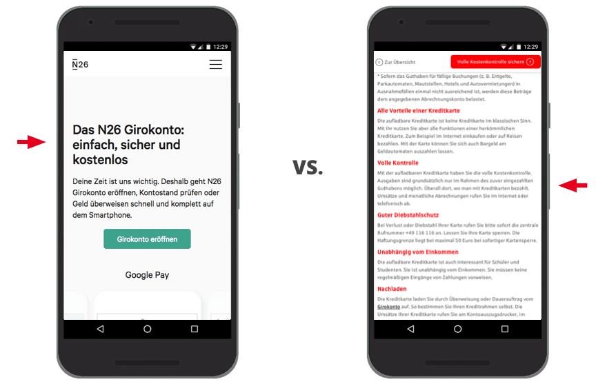 UX Best Practices Mobile: Schriften Fonts min 16px