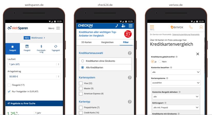 UX Best Practices Mobile: Vergleich - Sortieren & Filtern