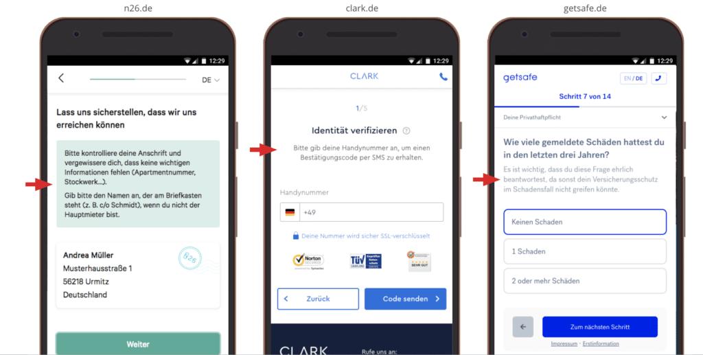 UX Best Practices Mobile: Schaffe Vertrauen: Erkläre, warum Infos abgefragt werden