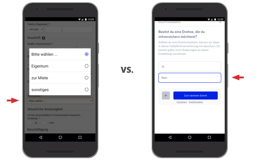 UX Best Practices Mobile: Dropdowns sinnvoll einsetzen