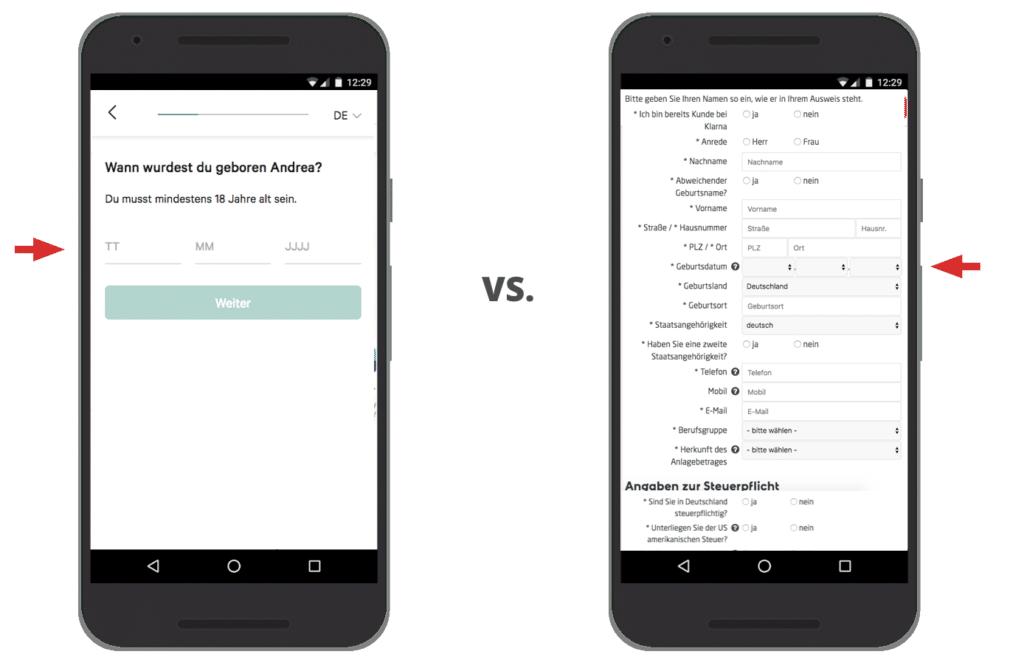 Bessere UX durch Schritt-für-Schritt-Abfrage im mobilen Signup- oder Checkoutprozess - Mobiloptimierung für SEO und UX - Brainpath