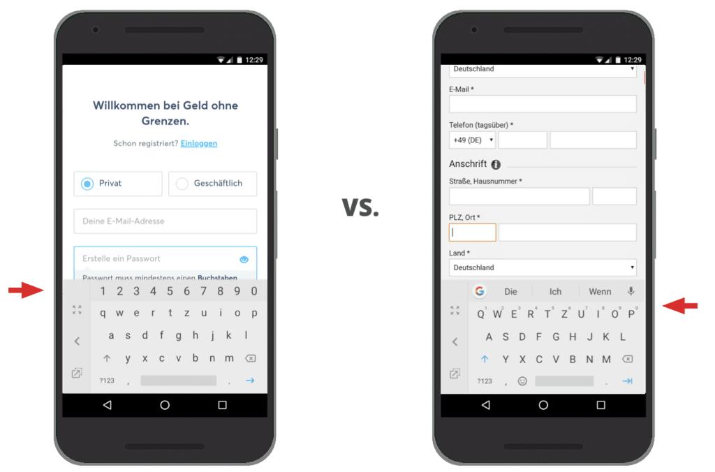 UX Best Practices Monile: Die richtige Tastatur wählen