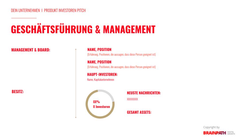 Investoren-Pitch-Deck und wie du es erstellst. Team.
