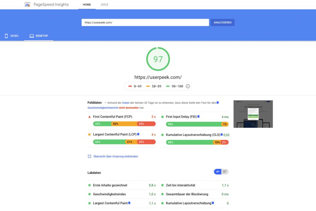 UX für SEO: Google Page Speed Insights Bild - Userpeek Beispiel
