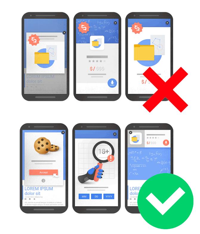 Abbildung Google Webmasters- Einsatz von Werbung auf mobilen Geräten als Rankingfaktor
