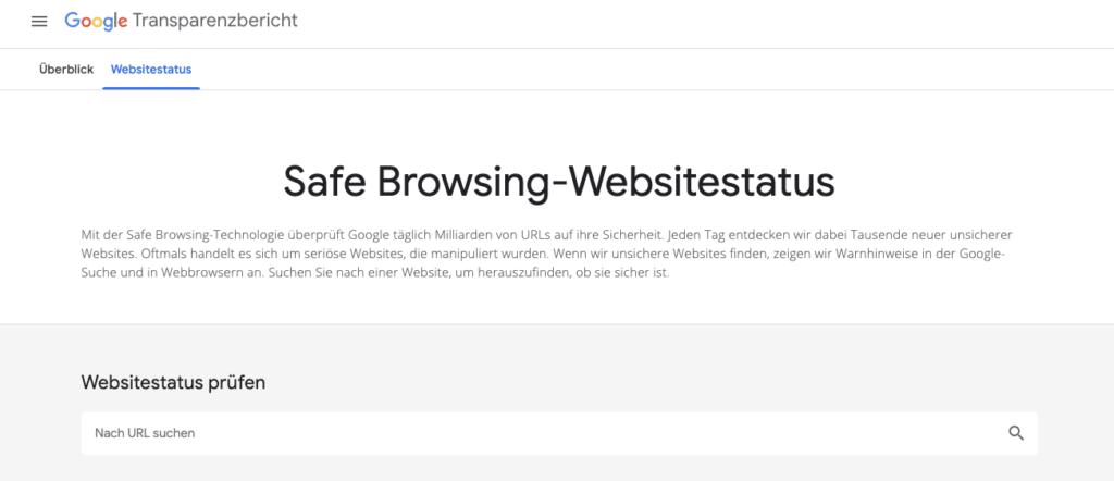 Safe Browsing-Websitestatus - UX für SEO - Sicheres Browsen mit dem Google Transparenzbericht